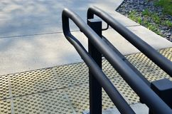 City railings, handrails for pedestrians, paving. Slabs royalty free stock images