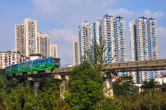City Railway and blue train Royalty Free Stock Photography