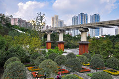 City Railway through park Royalty Free Stock Images