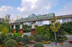 City Railway train in sky Stock Photo