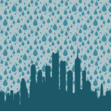 City rain. Heavy rain for a dreary day in the city Stock Images