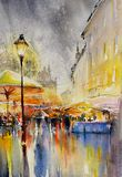 City in the rain watercolors painted. Stock Image