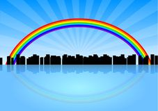 City rainbow. City silhouette below the rainbow Royalty Free Stock Photography