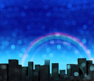 City and rainbow Stock Photography