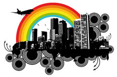 City Rainbow. Grunge City Plane Rainbow Illustration Royalty Free Stock Image