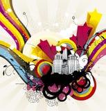 City and rainbow illustration Stock Image