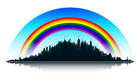 City and rainbow. Silhouette of the city with rainbow Stock Photo