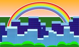 City with a rainbow. Vector illustration of city with a rainbow Stock Image