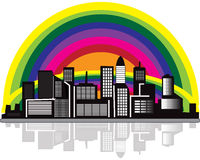 City With Rainbow Royalty Free Stock Photos