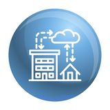 City rainfall icon, outline style stock illustration