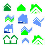 City real estate logo. Collection of real-estate logo and icons with city buildings vector illustration