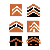 City real estate logo. Collection of real-estate logo and icons with city buildings royalty free illustration