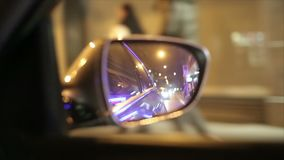 City. Rearview mirror. stock video footage