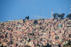 City with red brick houses on the hill Stock Photo
