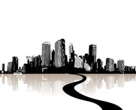 City reflected in water. Vector Stock Photography