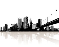 City reflected in water. Vector Stock Photo