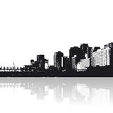 City with reflection. In the water. Vector art Royalty Free Illustration