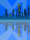 City Reflection. Outline of a city at night and the citys reflection in the water vector illustration