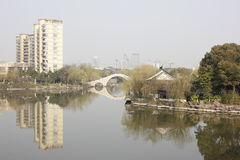 The city reflection in lake (Jiaxing,China) Stock Photos