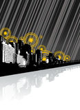 City with reflection and lines. Vector Royalty Free Stock Image