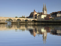 city Regensburg with historical old stone bridge Stock Image