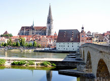 City of Regensburg and the old bridge, Bavaria, Germany Royalty Free Stock Photos