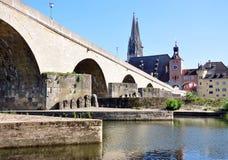 City Regensburg and Old Bridge, Germany, Europe Royalty Free Stock Photos