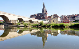 City of Regensburg and the old bridges, Germany, Europe Stock Photo
