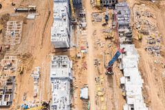 City residential area development. building of new block apartments. aerial view royalty free stock photo