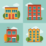City residential buildings set in vector flat style Stock Photos