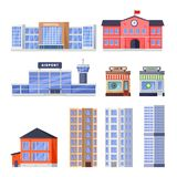 City residential, non-residential buildings, vector icons set. Municipal real estate object isolated on white background stock illustration