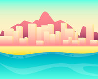 City resort. On the beach. Vector illustration Stock Photos