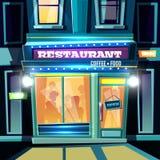 City restaurant facade at evening cartoon vector. Small restaurant full of visitors at evening time on city street cartoon vector illustration. Local cafeteria stock illustration