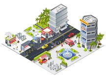 City Restaurants And Cafe Isometric Composition. City landscape isometric composition with restaurants in urban skyscrapers and fast food mini cafe isometric Royalty Free Stock Photo
