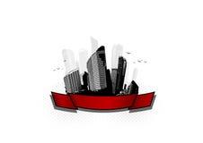 City with ribbon. Vector Stock Photo