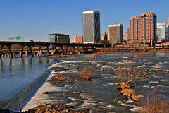 City of Richmond Virginia. City of Richmond, Virginia as seen from the flood wall of the James River Royalty Free Stock Image