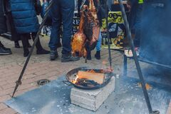 City Riga, Latvia. Street Restaurant food festival. Meat is grilled on the grill
