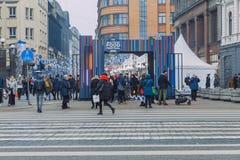 City Riga, Latvia. Street Restaurant food festival. Peoples walking and taste food