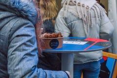 City Riga, Latvia. Street Restaurant food festival. Roasted meat and additives