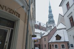 Through the old town in Riga - Latvia royalty free stock photo