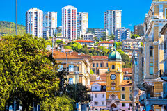 City of Rijeka architecture view. Clock tower and skyscrapers, Kvarner bay, Croatia Stock Photo