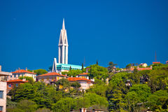 City of Rijeka hill church view. Kvarner bay of Croatia royalty free stock images
