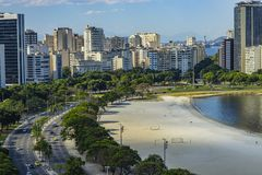 City of Rio de Janeiro, Brazil, in the background, neighborhood of Urca and Botafogo. South America royalty free stock images
