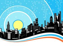 City ripple. Editable vector illustration of a city skyline Royalty Free Stock Image