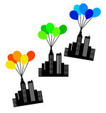 City on the rise. Balloon city on the rise towards the sky Royalty Free Stock Photos