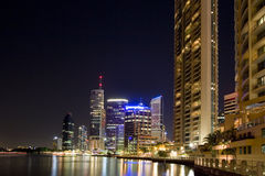 City by river. Brisbane city by river with appartments in foreground Stock Images
