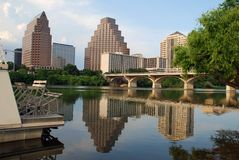 City by the River. Austin, Texas downtown skyline, embraced by the beauty of nature. Austin downtown is next to the colorado river's infamous Town Lake paddle stock images