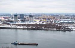 City river barge winter building. Nizhny Novgorod, Russia Royalty Free Stock Photo