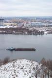 City river barge winter building. Nizhny Novgorod, Russia Stock Photo