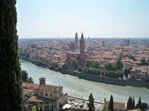 The city and the river. Beautiful view of a river going through the city. Italy has beautiful city like that Stock Image